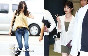 """Yoona (SNSD) thả dáng """"sang chảnh"""", IU bị tố làm mũi khi xuất hiện tại sân bay"""
