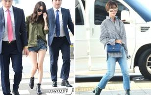 Yoona lại lộ chân cong veo như sắp gãy tại sân bay, Hwang Jung Eum lung linh như chụp tạp chí
