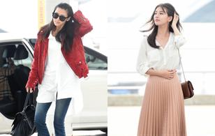 """Màn """"đụng độ"""" hiếm hoi của nữ thần sắc đẹp 2 thế hệ Suzy - Jeon Ji Hyun tại sân bay"""