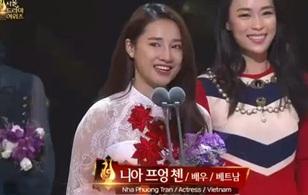 """Nhã Phương bất ngờ thắng giải """"Ngôi sao Châu Á"""" tại Seoul International Drama Awards 2016"""