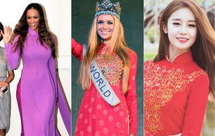 Ngắm các mỹ nhân thế giới đẹp dịu dàng trong tà áo dài Việt Nam