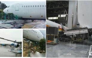 Máy bay Boeing 767 bị siêu bão thổi bay khỏi đường băng