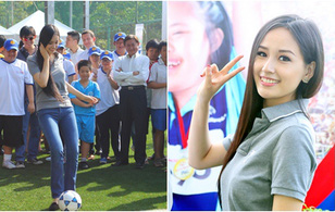 Hoa hậu Mai Phương Thúy trổ tài đá bóng