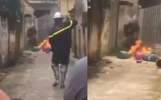Hà Nội: Con rể mang 4 bình gas đến nhà bố vợ rồi châm lửa đốt