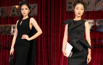 Hoa hậu Kỳ Duyên & em gái Trang Khiếu mang sắc đen bao trùm thảm đỏ show diễn NTK Đỗ Mạnh Cường
