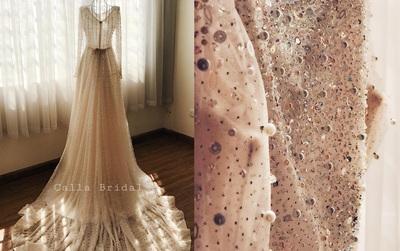 Cận cảnh váy cưới gắn 10.000 viên pha lê của MC thời tiết Mai Ngọc