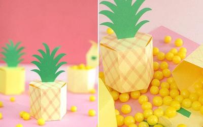 """Cắt giấy làm hộp quà trong hình dáng trái dứa siêu """"cute"""""""