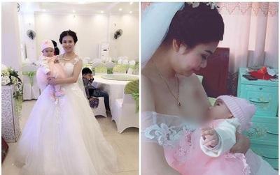 Hình ảnh cô dâu vén váy cho con bú ngay trong ngày cưới gây xôn xao cộng đồng mạng