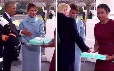 Những biểu cảm của cựu Đệ nhất phu nhân Michelle Obama khi nhận quà từ bà Melania Trump gây xôn xao mạng xã hội