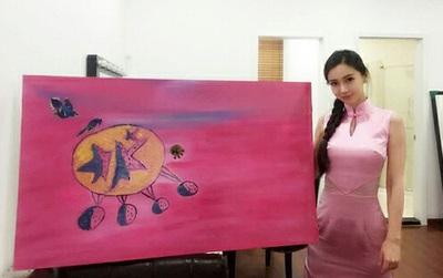 Huỳnh Hiểu Minh bỏ ra 560 triệu để mua tranh do chính Angela Baby vẽ?
