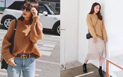 Mua gì cũng được nhưng mùa đông bạn đừng quên mua áo len màu camel