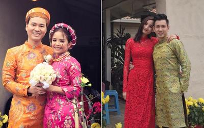 Vợ chồng Đỗ An - Lê Thúy diện áo dài chúc mừng đám cưới của thành viên AC&M ở Mỹ