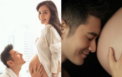 """Đập tan tin đồn """"nhờ người mang thai hộ"""", Huỳnh Hiểu Minh khoe ảnh Angela Baby thuở bụng bầu """"vượt mặt"""""""