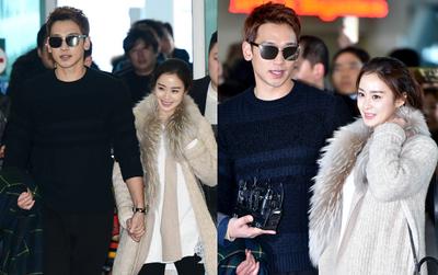 Kim Tae Hee và Bi Rain nắm chặt tay, cười rạng rỡ xuất hiện lần đầu sau đám cưới
