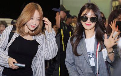 Hani (EXID) đẹp không tì vết, Eunji (A Pink) bị thương vẫn cố cười với fan tại sân bay về Hàn Quốc