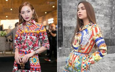 """Cùng chọn đồ của một hãng, Minh Hằng và Hà Hồ trông """"na ná"""" nhau vì đụng ý tưởng từ trang phục tới style trang điểm"""