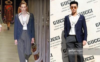 Dự show Gucci và diện đồ y hệt người mẫu, Park Seo Joon lép vế về chiều cao nhưng vẫn nổi bần bật