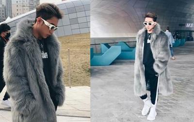 Sơn Tùng M-TP khoác áo lông dài ngoài đồ thể thao, đeo kính râm xuất hiện cực ngầu tại Seoul Fashion Week