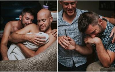 Cặp đồng tính nam bật khóc nức nở khi chứng kiến khoảnh khắc con đầu lòng chào đời