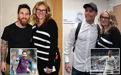 """""""Người đàn bà đẹp"""" Julia Roberts chụp chung với cả Messi lẫn Ronaldo hậu El Clasico"""