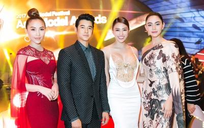 Lê Hà, Quỳnh Thư lộng lẫy hội ngộ Mario Maurer và Mai Davika trong sự kiện tại Hàn