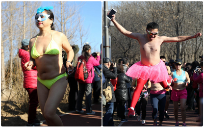 Bất chấp thời tiết giá lạnh, người dân Trung Quốc vẫn mặc đồ bơi chạy bộ giữa trời