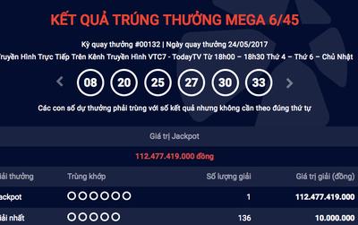 Một người trúng giải Vietlot kỷ lục 112 tỷ đồng, cao nhất từ trước đến nay