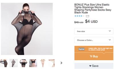 """Quảng cáo quần tất cho người quá khổ bằng hình ảnh mẫu gầy """"chui"""" vào sản phẩm, trang web mua sắm bị """"ném đá"""" kịch liệt"""