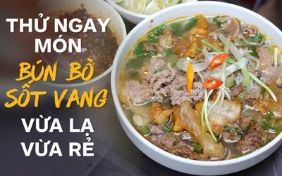 Ở Hà Nội có một món bún rất lạ mà giá lại cực rẻ: bún bò sốt vang