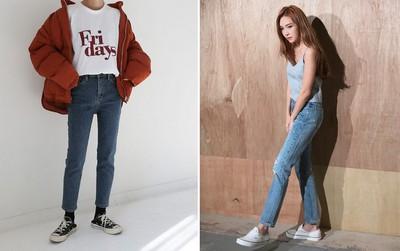 Nếu đang định sắm skinny jeans, bạn đừng mua loại bó chịt mà hãy chọn dáng ôm vừa phải như thế này mới là đúng mốt 2018