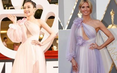 """Bạn có nhận ra sự giống nhau kỳ lạ giữa bộ cánh """"siêu vòng 1"""" của Chi Pu và đầm của Heidi Klum?"""