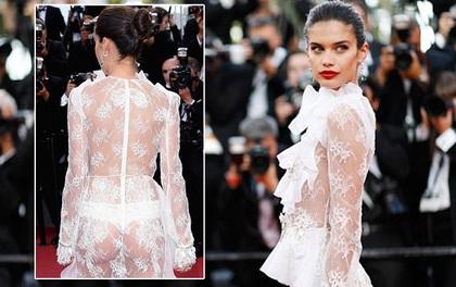 """Thiên thần Victoria's Secret """"hâm nóng"""" thảm đỏ Cannes với váy xuyên thấu khoe vòng 3"""