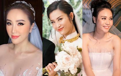 """Đến đám cưới Bảo Thy là có thể khẳng định: Hầu hết các cô dâu showbiz Việt đều """"đu"""" theo xu hướng trang điểm tông cam"""
