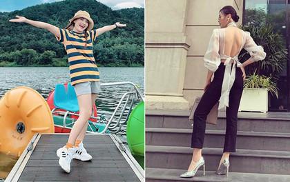 """Street style sao: """"Quỳnh búp bê"""" diện áo khoét cả mảng lưng, Bảo Thanh hack tuổi trẻ như nữ sinh với tóc tết 2 bên"""
