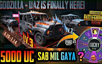 """PUBG Mobile chào hàng xe UAZ chúa tể Godzilla, game thủ lại """"khô máu"""" với Lucky Spin"""