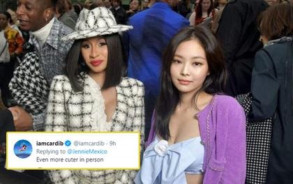 """Từng """"sượng trân"""" bên nhau tại Paris, giờ Cardi B công khai khen Jennie (BLACKPINK) hết lời ngay dưới tweet của fan?"""