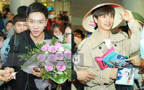 """""""Ngộ Không"""" Lee Seung Gi tươi rói nhận hoa, Yook Sung Jae điển trai giữa đám đông fan phấn khích tại sân bay Nội Bài"""