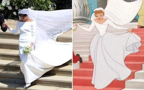 Đến váy cưới cũng giống nhau đến kỳ lạ, Meghan Markle đích thị là Công chúa Lọ Lem của đời thực