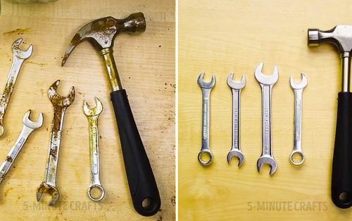 Nhà có nhiều dụng cụ bị gỉ sét thì không nên bỏ qua mẹo tẩy vết gỉ này