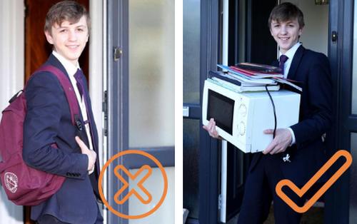 Trường học cấm mang cặp sách, nam sinh phản đối bằng cách cho sách vở vào lò vi sóng vác đi học