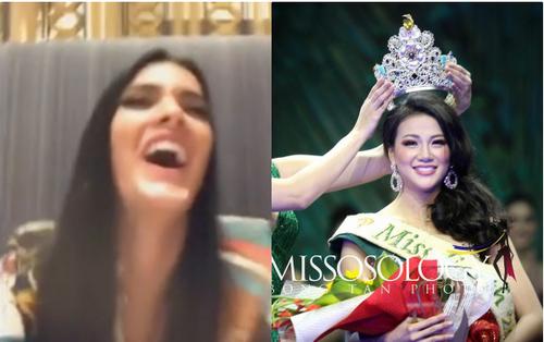 Clip Hoa hậu Hoà bình cười hả hê, kém duyên khi được khen đẹp hơn Hoa hậu Trái đất Phương Khánh