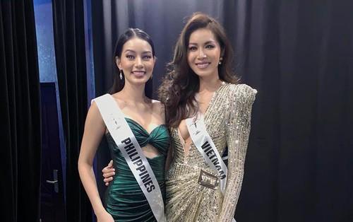 Người đẹp đại diện Phillippines diện váy dạ hội của Minh Tú, thân thiết chụp hình chung tại hậu trường Miss Supranational 2018