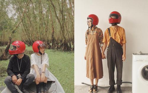 Cặp đôi giấu mặt, đội mũ bảo hiểm đỏ đang hot trên Instagram: Lên Đà Lạt vì thất tình ai ngờ gặp ngay chân ái!