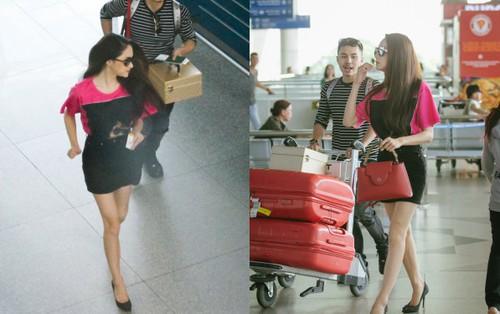 Hương Giang vội vã ở sân bay Tân Sơn Nhất, suýt muộn chuyến bay quay lại Thái Lan vì kẹt xe