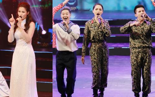 Đông Nhi đằm thắm với áo dài trắng, Hoa hậu Hương Giang biểu diễn trong quân phục chiến sĩ
