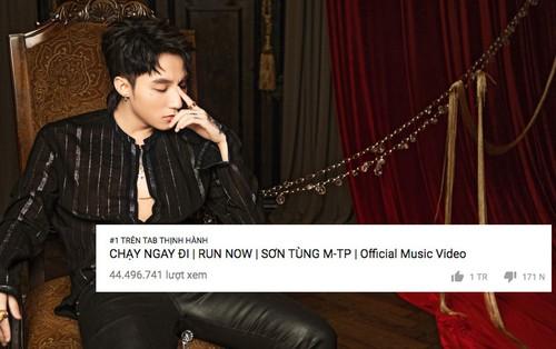 """MV """"Chạy ngay đi"""" của Sơn Tùng M-TP trở lại #1 trending, đạt 1 triệu lượt like trên Youtube chỉ sau 5 ngày ra mắt"""