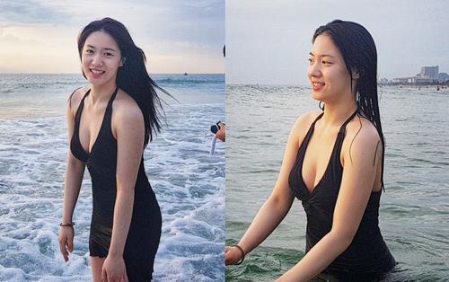 Bị fan Việt khủng bố, Hyoyoung tiếp tục vui vẻ khoe vòng một khủng đầy sexy trên biển Đà Nẵng