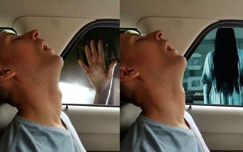 Bạn trai ngủ gật trên xe, cô gái nhờ dân mạng photoshop cảnh 2 bên đường sao cho thật kịch tính