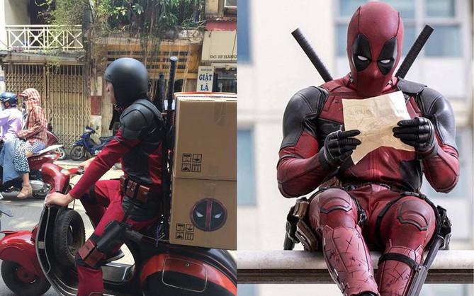 Bắt gặp Deadpool trang bị full giáp đi ship hàng trên phố Hà Nội