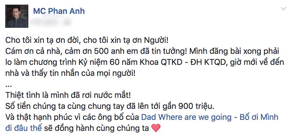 Nói là làm, MC Phan Anh đóng góp 500 triệu và kêu gọi chung tay giúp đỡ đồng bào gặp lũ lụt miền Trung - Ảnh 2.